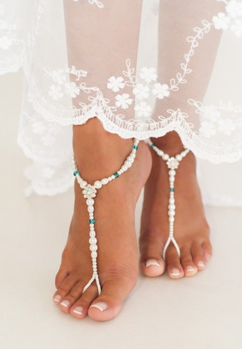 Amélie Graceful Pearl Barefoot Sandals