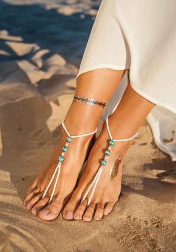 Boho Turquoise Barefoot sandals
