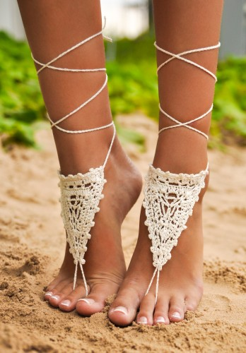 Chantilly Crochet Ivory Barefoot Sandals