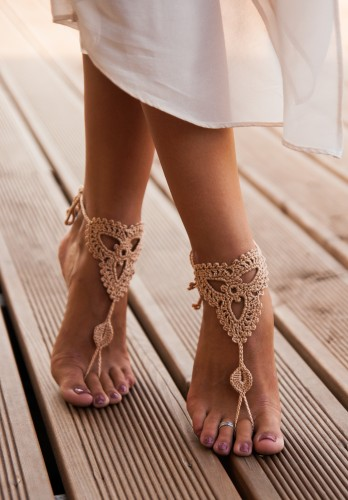 Lotus Champagne Barefoot Sandals