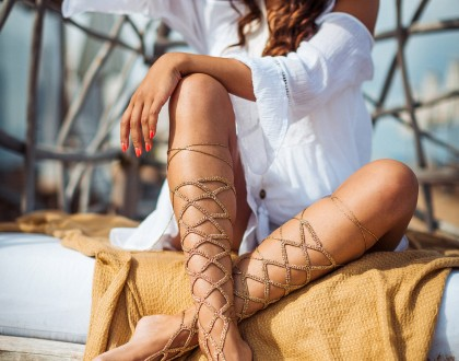 Gold Lace up Barefoot Sandal