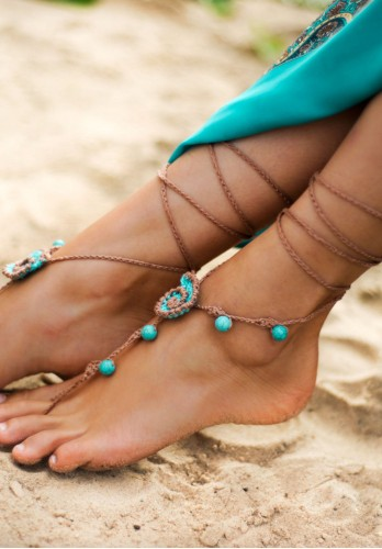 Beach wedding Seashells Tan and Aqua Crochet bridal Barefoot Sandals