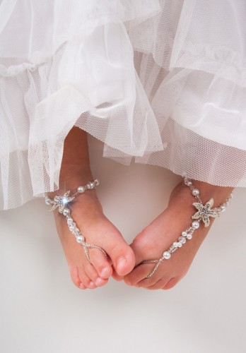 Aruba Flower girl barefoot sandals