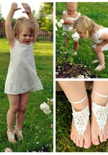 Paloma Crochet Toddler Barefoot Sandals