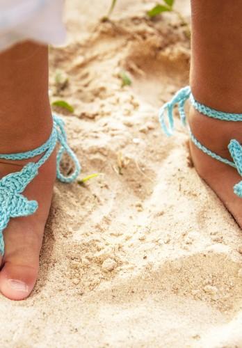 Aqua Starfish Crochet Baby Barefoot Sandals