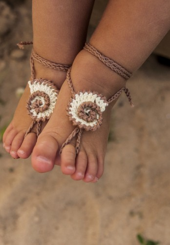 Seashell Crochet Baby Barefoot Sandals