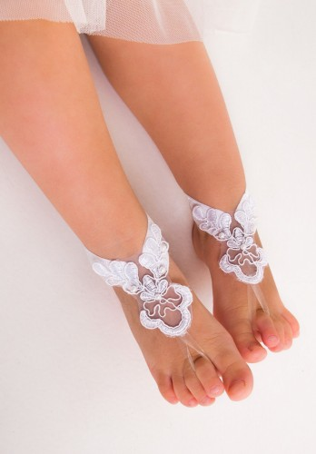 Beach wedding lace footless sandal