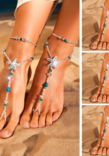 Wedding party set Rhinestone starfish barefoot sandales