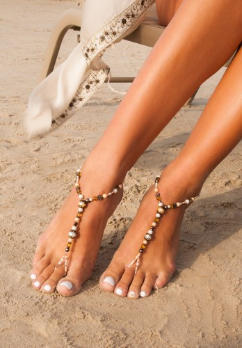 Dahlia Champagne Barefoot Sandals