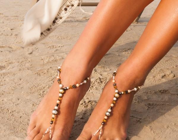 Dahlia Champagne Barefoot Sandals