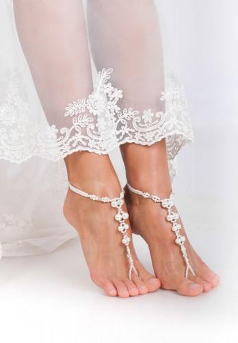Satin white bridal barefoot sandal