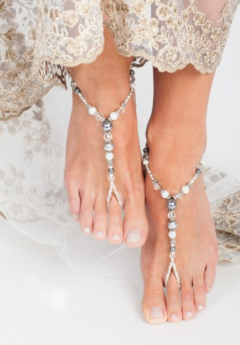 Metallic Beach wedding Barefoot Sandals