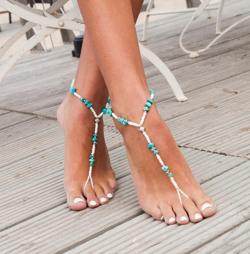 Turquoise Barefoot Sandals