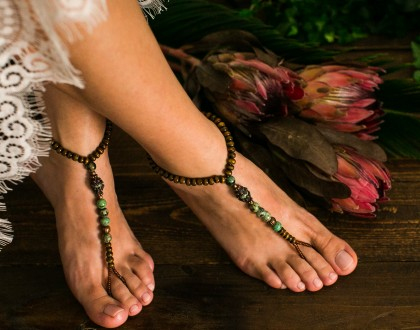 African turquoise Budha barefoot sandals