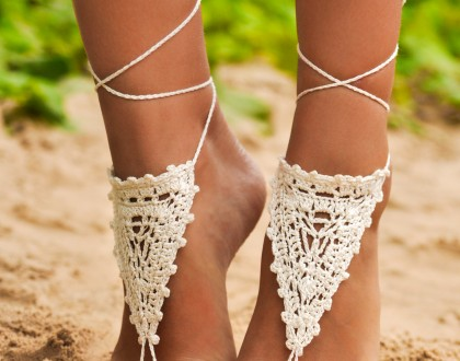 Chantilly Crochet Ivory Barefoot Sandals