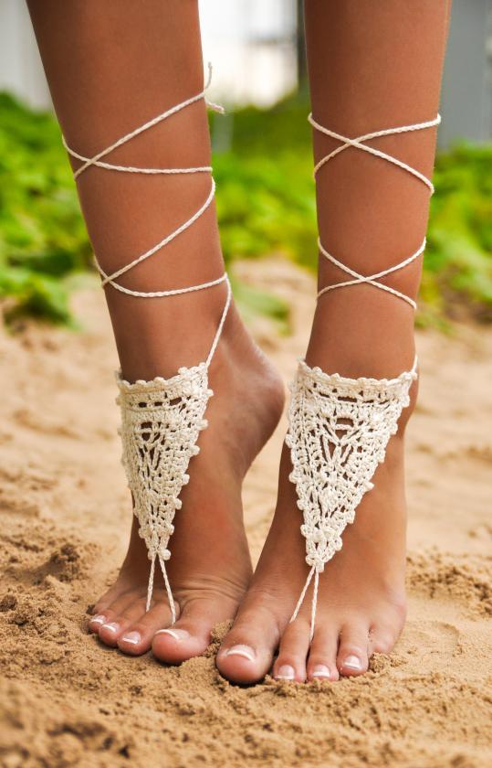 d4eb6f7a8c7a2 Chantilly Crochet Ivory Barefoot Sandals