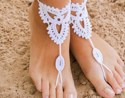 Beach wedding White Crochet Barefoot Sandals