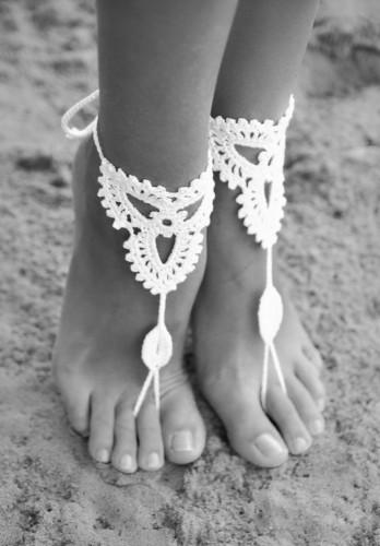 Lotus White barefoot sandals