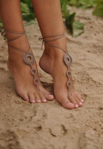 Tan Crochet Barefoot Sandals