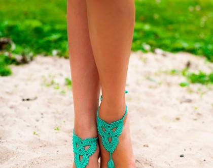 Mint Emerald Green Barefoot Sandals