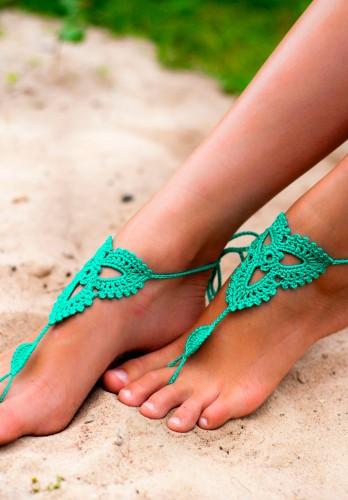 Lotus Emerald Barefoot Sandals