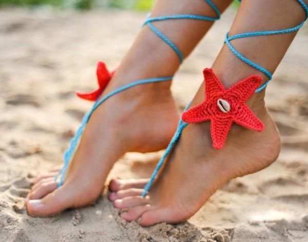 Coral and Aqua Starfish Seashells Crochet Barefoot Sandals