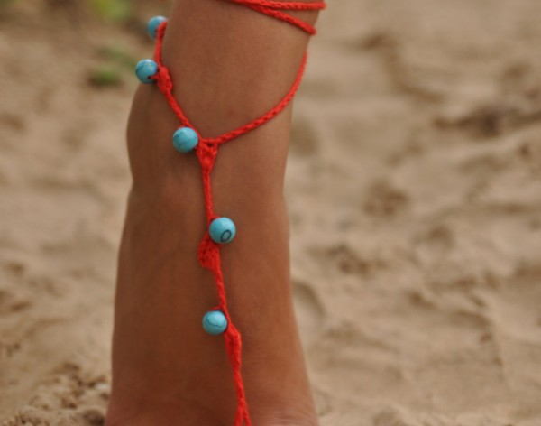 Red Crochet Barefoot Sandals with Turquoise gemstones