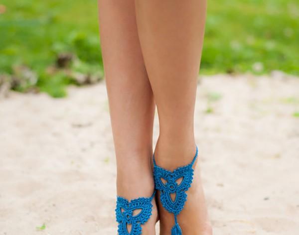 Lotus Blue Barefoot Sandals