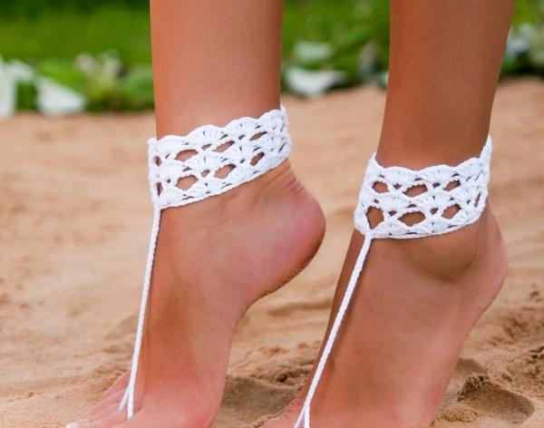 White crochet barefoot sandal