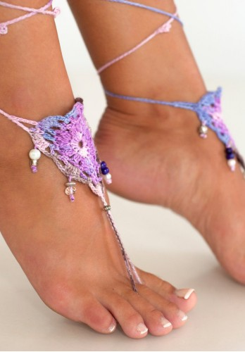 Bohemian feather Barefoot Sandals