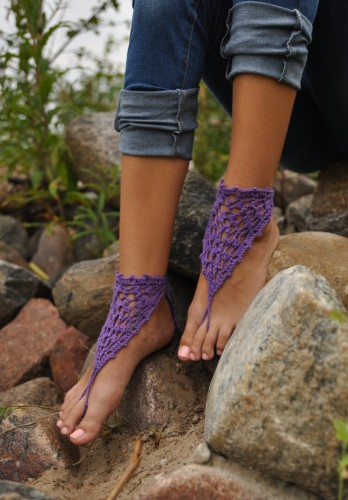 Purple Crochet Barefoot Sandals