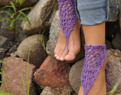 Purple Crochet Barefoot Sandals