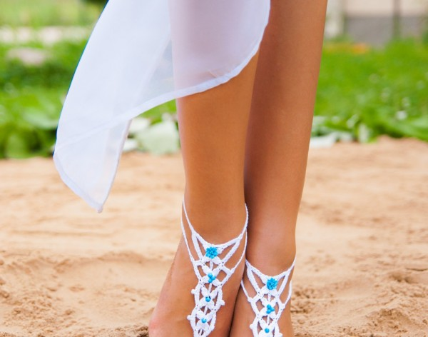 White and Blue Barefoot Sandals