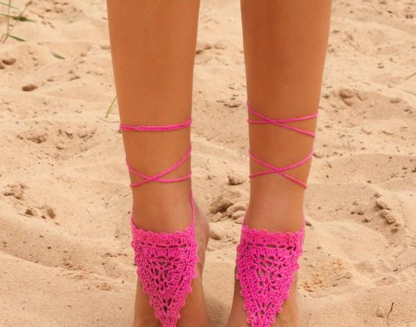 Crochet Fuchsia Barefoot Sandals