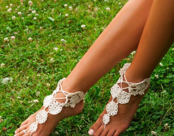Womens crochet barefoot sandals
