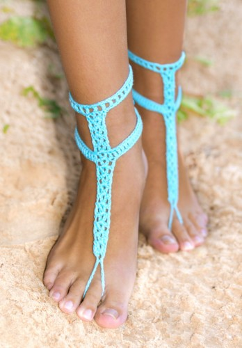 Turquoise Blue Barefoot Sandals with buttons