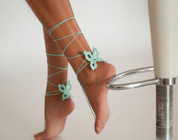 Butterfly Mint Crochet Barefoot Sandals