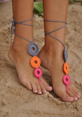 Crochet Multicolor Barefoot Sandals