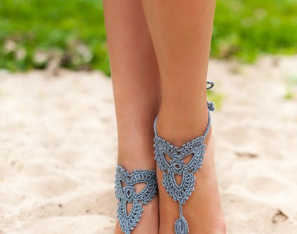 Grey Crochet Barefoot Sandals