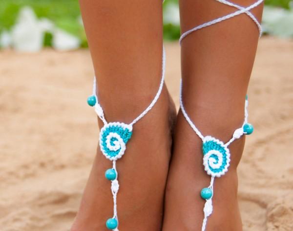 Seashell White and Aqua Crochet Barefoot Sandals