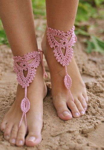 Crochet Powder Pink Barefoot Sandals