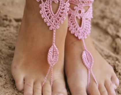Crochet Powder Pink Barefoot Sandals