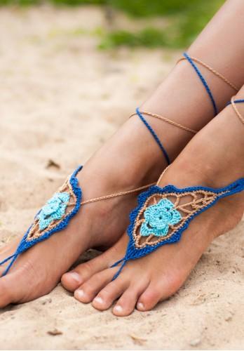 Azure Crochet Barefoot sandals