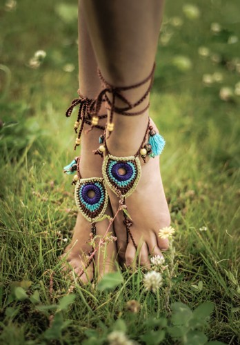Tribal Peacock barefoot sandals