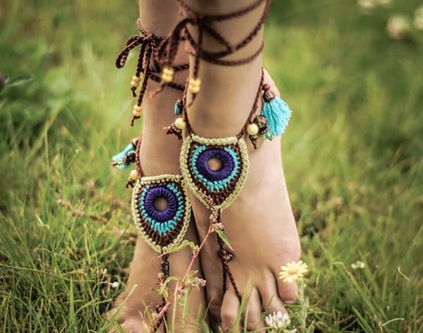 Tribal Peacock barefoot sandals