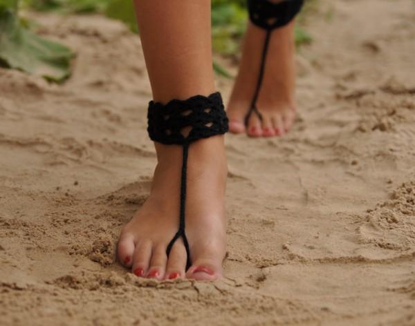 Black Crochet Barefoot Sandles