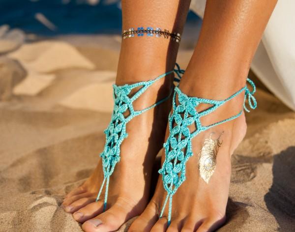 Turquoise Barefoot Sandles