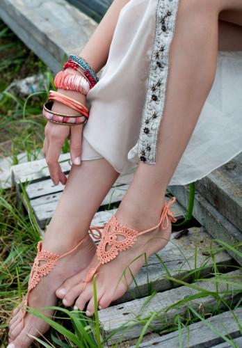 Lotus Peach Barefoot Sandals