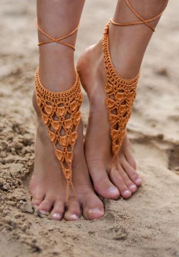 Crochet Gold Barefoot Sandals