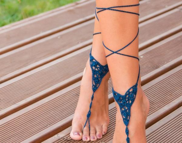 Crochet Navy Blue Barefoot Sandal
